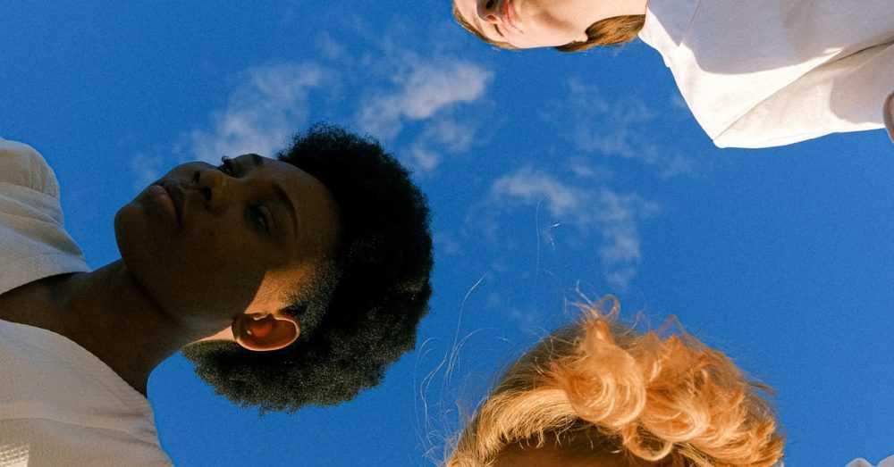 A man in a blue sky